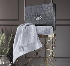 Комплект махровых <b>полотенец</b> с <b>вышивкой</b> KARNA SIENA серый ...