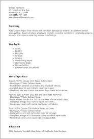 professional auto collision repair templates to showcase your    resume templates  auto collision repair