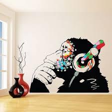 <b>Banksy</b> Thinking Monkey <b>Sticker</b> - <b>Art Vinyl</b> Street Dj Baksy <b>Wall</b> ...