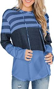 Leslady Hoodie Womens <b>Color Block Striped</b> Jumper Ladies Long ...