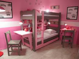 pink and brown stained wooden bunk bed built in desk and bookcase using white cotton bed childrens bunk bed desk full