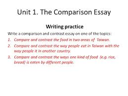 advanced english writing ca unit  the comparison essay  the comparison essay writing practice write a comparison and contrast essay on one