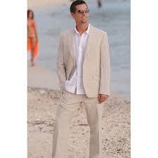 2019 <b>Summer Champagne Linen Mens</b> Suits 2017 2 Buttons Beach ...