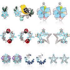 <b>Cute Korean</b> Colorful Rhinestone Shell Flower Circle Stud <b>Earrings</b> ...
