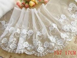 <b>1 YARD DELICATE Embroidered</b> Flower Tulle Lace trim Wedding ...