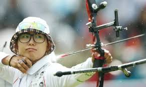 South Korea's Choi Hyeon-ju fires an arrow in the women's team archery semi-finals at Lord's in London on Sunday. Photo: Reuters - P19-120731-344r