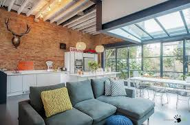 awesome open plan living house with gray sectional sofa and delightful dining space along with large awesome large living room