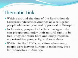 essay what is an american by michel guillaume jean de  thematic link writing around the time of the revolution de crevecoeur describes america as a