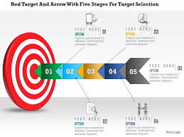 circular bulls eye process powerpoint presentation diagrams icons       red target and arrow   five stages for target selection powerpoint template slide