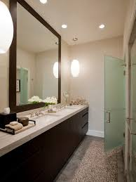 framed mirror bathroom tile walnut chrome vanity