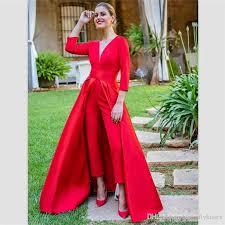 <b>2018 elegant red</b> satin jumpsuits evening dresses <b>floor</b> length prom