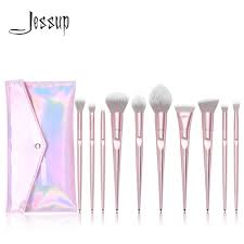 Jessup set <b>Makeup</b> brushes set <b>10pcs</b> Metallic <b>Pink beauty Make up</b> ...