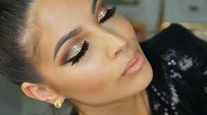 Golden <b>Glitter Smokey</b> Eye <b>Makeup</b> Tutorial 2016 - YouTube
