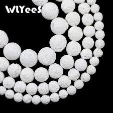 <b>WLYeeS</b> Hight Quality White Rock Lava Beads <b>Natural Stone</b> 6 8 10 ...