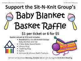 sit n knit baby blanket basket raffle friends of huntingdon sit n knit raffle flyer