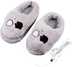1 Pair Plush USB Electric Heating Slippers Heated ... - Amazon.com
