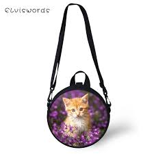 <b>ELVISWORDS Women Round</b> Shape Crossbody Bags Floral Cats ...