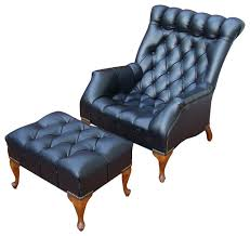 consigned midcentury tufted black leather chair and ottoman traditional armchairs and accent black leather mid century
