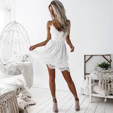 <b>Summer Mini</b> Dress Women White Deep <b>V Neck</b> Backless Lace ...