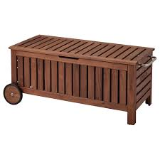 ÄPPLARÖ <b>Storage bench</b>, outdoor, brown stained brown, Width: 50 ...