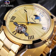 <b>Forsining</b> Men Watch Automatic Golden Sun Moon Phase Steel ...