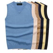 <b>Men</b> Sleeveless Sweater Vest Autumn Spring <b>100</b>% <b>Cotton Knitted</b> ...