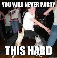 You will never party THIS HARD - danceswithcatshard - quickmeme via Relatably.com