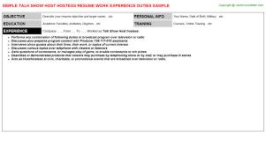 show host hostess resumetalk show host hostess resume