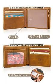 mens gifts <b>Men's PU Leather</b> Bifold Wallet ID Credit Card Holder ...