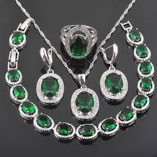 FAHOYO Green <b>Zirconia</b> Classic Design For Women <b>925 Sterling</b> ...