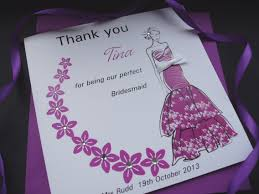 thank you bridesmaid floral swirl card handmade cards pink posh thank you bridesmaid floral swirl card
