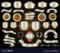 <b>Retro gold and silver</b> ribbons badges and labels Vector Image