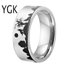 Wolf Design <b>Rings</b> For <b>Women Men's</b> Wedding Band <b>8mm</b> Silver ...