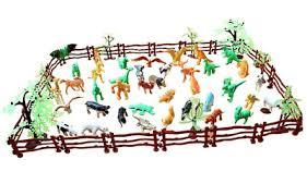 <b>Animal Farm Simulation Zoo</b> Models Kids Toys 68pcs Animals Trees ...