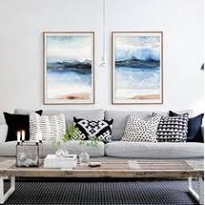 Set of 2 <b>Watercolor Nordic Modern Watercolor</b> Landscape Art Print ...