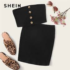 SHEIN Solid <b>Tube</b> Top And Belted Shorts Set 2019 <b>Casual Summer</b> ...