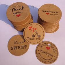 dolove_beauty Round Thank you Brown DIY Kraft Paper Label Red ...