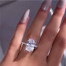 Peigen Promise Rings,Fashion Simple <b>Luxury</b> Oval <b>White Zircon</b> ...