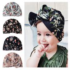 <b>Fashion Bowknot Baby Hat</b> Newborn Elastic Cotton Printing Beanie ...