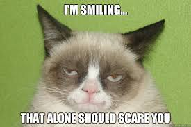 i'm smiling... that alone should scare you - Grumpy cat on ... via Relatably.com