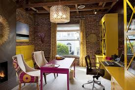 brick wall floating desk with guest chairs avant actiu furniture bench
