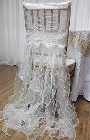 10pcs <b>White</b> lace chiavari Chair Back Cover Organza <b>Curly</b> Willow ...