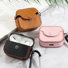for AirPods Pro <b>Cowhide Leather Case</b> Earphone Protective Cover ...