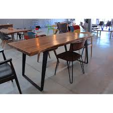 marble dining table adecc: natural wood live edge acacia table with black angled legs