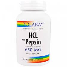 HCL с пепсином, Solaray, 650 мг, 100 вегетарианских капсул ...