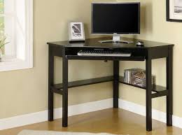 trriangle shape black polished oak wood computer table with open shelf and square legs also keyboard black shaped office desks