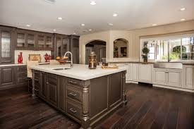 painted kitchen cabinets vintage cream: image of contemporary cream kitchen cabinets with dark floors