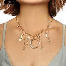 Boho Shiny Rhinestone <b>Star Moon Tassel</b> Charm <b>Necklace</b> ...