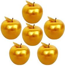 Lorigun <b>6 Pcs</b> Golden Apples Golden Fruit Crafts <b>Home Decoration</b>
