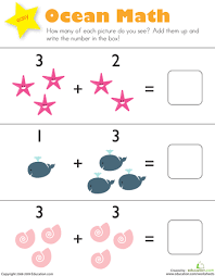 Kindergarten Addition Worksheets & Free Printables | Education.comKindergarten. Math. Worksheet. Addition: Ocean Math